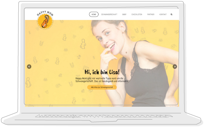 HappyMom-Baby-Website-Vorschau in Laptop-Illustration