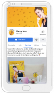HappyMom-Social-Media-Vorschau in Smartphone-Illustration