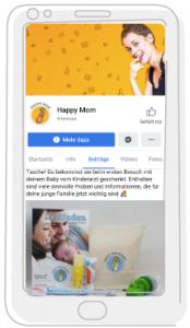 HappyMom-Baby-Social-Media-Vorschau in Smartphone-Illustration